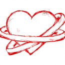 Hand Drawn Heart with 2 Rings Vector (EPS, SVG, PNG)