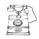 Hand Drawn Old Phone Vector (SVG, PNG)