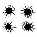 Bullet Hole Vector Set (EPS, SVG, PNG Transparent)