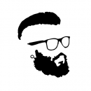 Hipster Beard and Glasses Silhouette Vector (EPS, SVG, PNG)