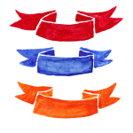 3 Watercolor Ribbon Label (PNG Transparent)