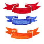 3 Watercolor Ribbon Label (PNG Transparent)