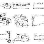 9 Hand Drawn Banner Ribbon Labels Vector (EPS, SVG, PNG)