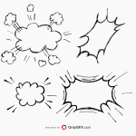 Hand Drawn Comic Speech Bubble Explosion Vector (EPS, SVG, PNG Transparent)