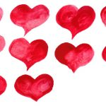 10 Red Watercolor Heart (PNG Transparent)