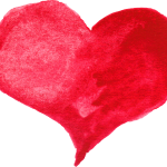 10 Red Watercolor Hearts (PNG Transparent)