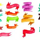 16 Watercolor Banners (PNG Transparent)