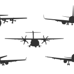 5 Airplane Front View Silhouette Vector (ESP, SVG)