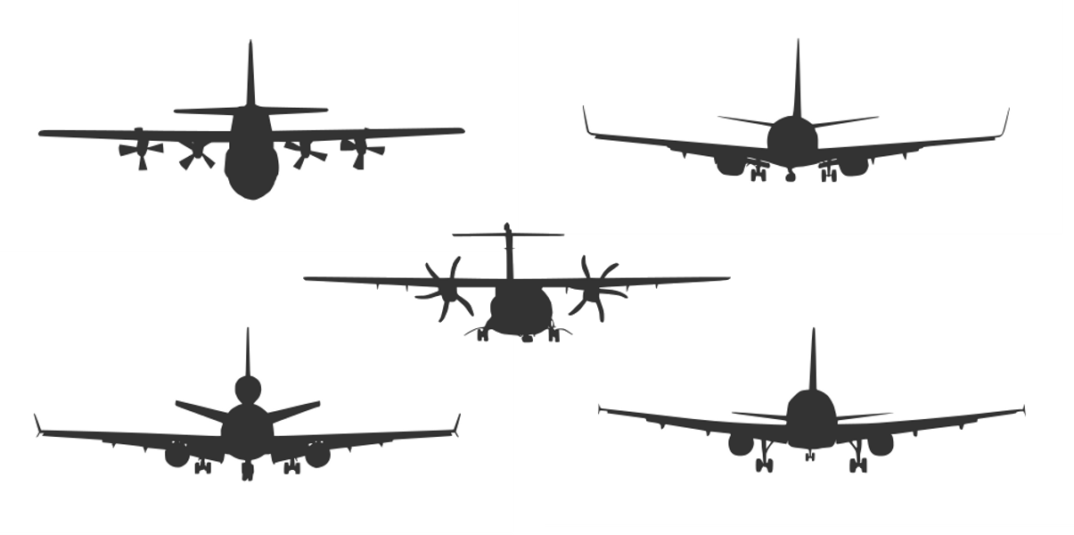 5 Airplane Front View Silhouette Vector Esp Svg Onlygfx Com