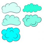 5 Cartoon Clouds (PNG Transparent)