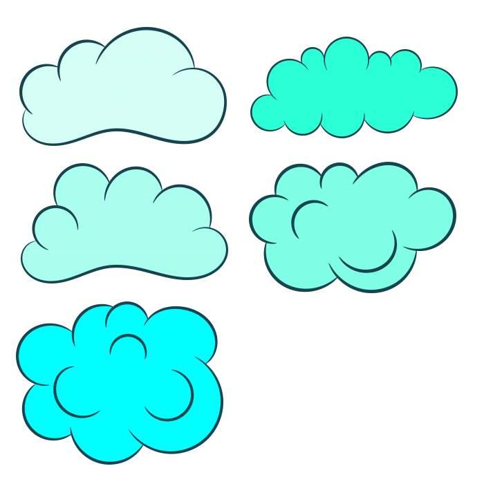 5 Cartoon Clouds (PNG Transparent) | OnlyGFX com