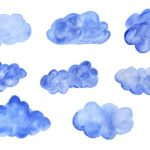 8 Blue Watercolor Clouds (PNG Transparent)
