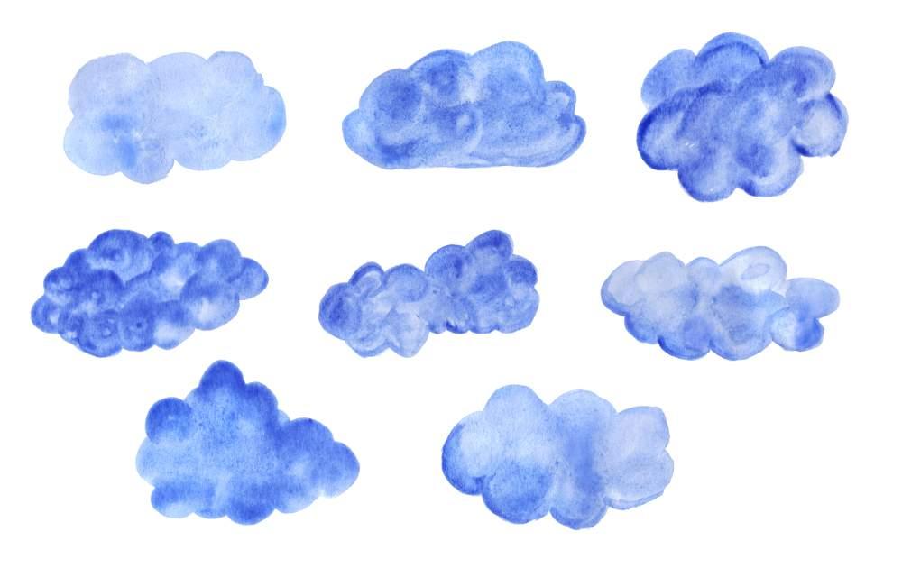Clouds watercolor. Blue png transparent