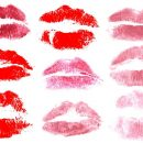 9 Red Print of Kiss Lips (PNG Transparent)