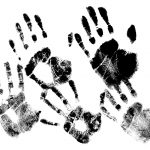 5 Black Handprints (PNG Transparent)