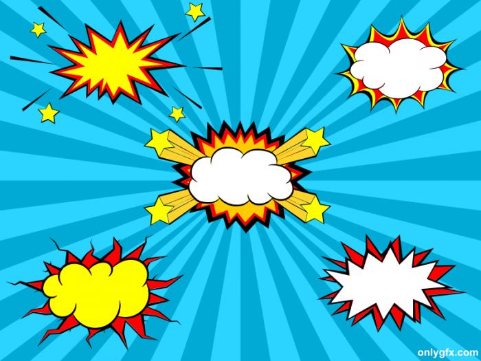 5 Comic Explosion Bubble (PNG Transparent, SVG Vector