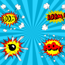 4 Comic Boom Explosion (PNG Transparent, SVG Vector)