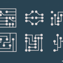6 Circuit Board Logo Templates Vector