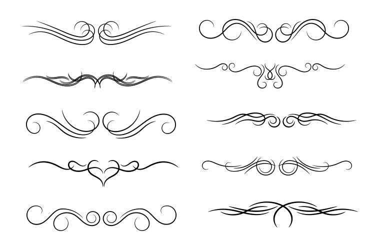 Calligraphic design elements page dividers png