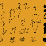 14 Simple Cute Cats (PNG Transparent, SVG)