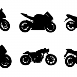 6 Motorcycle Silhouettes (PNG Transparent)