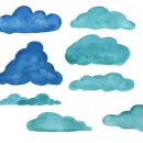 15 Watercolor Clouds (PNG Transparent) Vol. 3