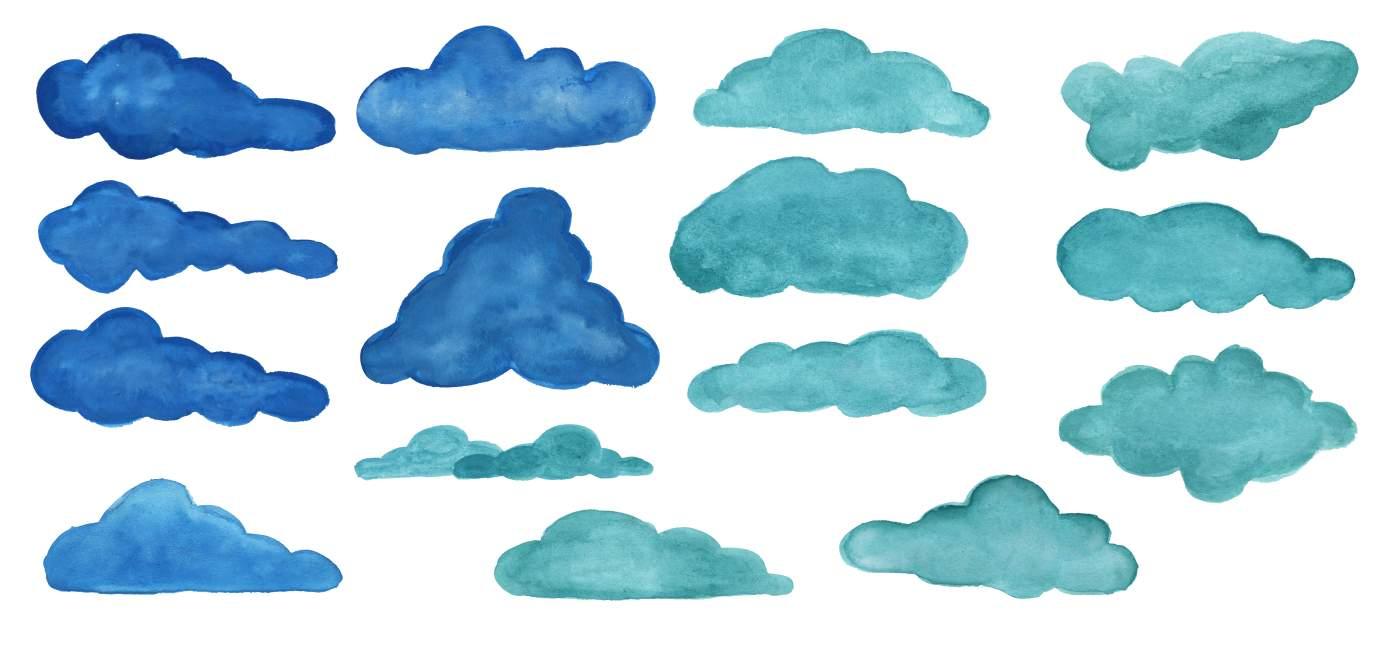 15 Watercolor Clouds PNG Transparent Vol 3