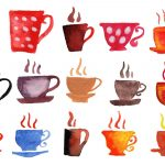 15 Watercolor Coffee Cups (PNG Transparent)
