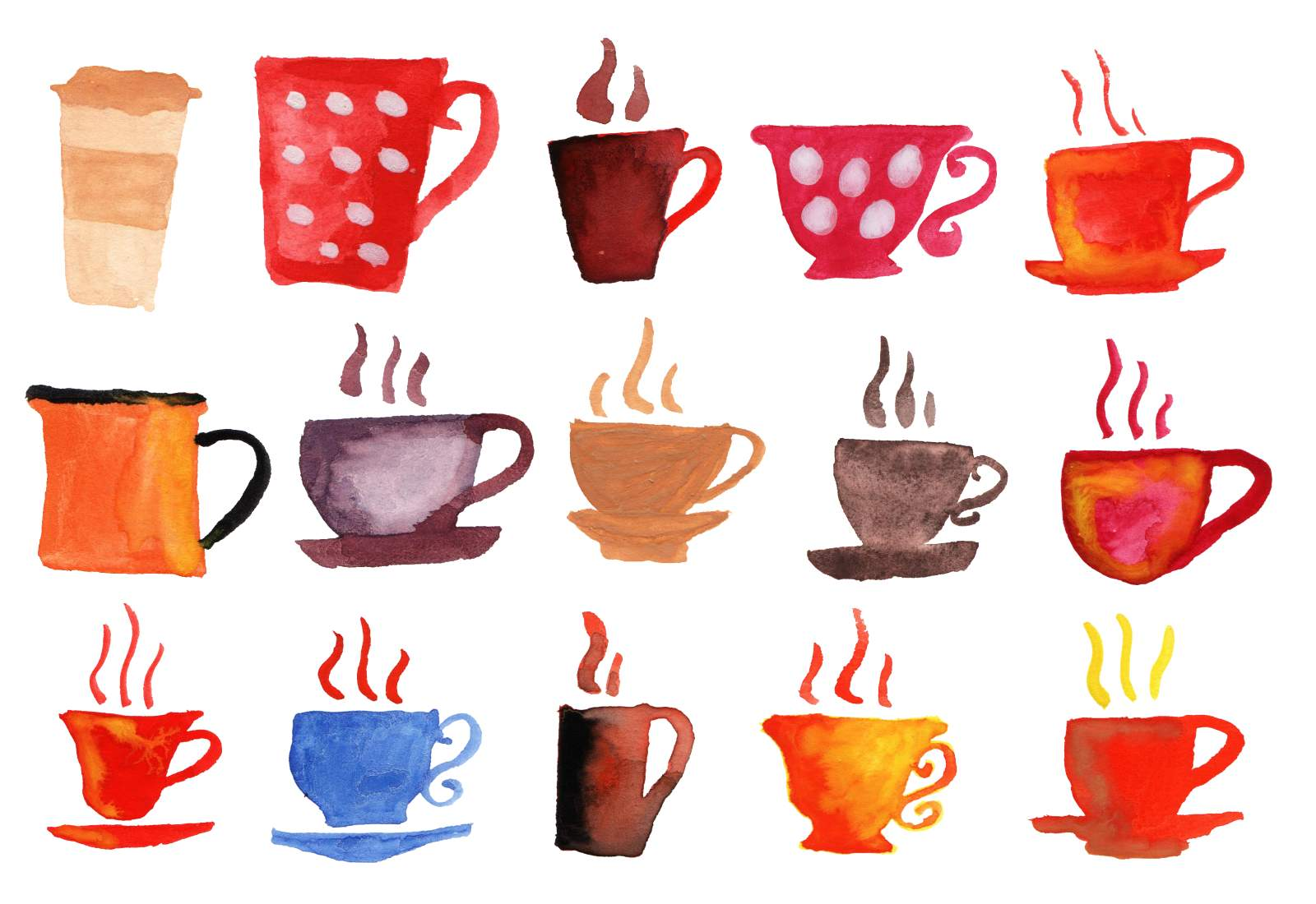 15 watercolor coffee cups png transparent for Coffee watercolor