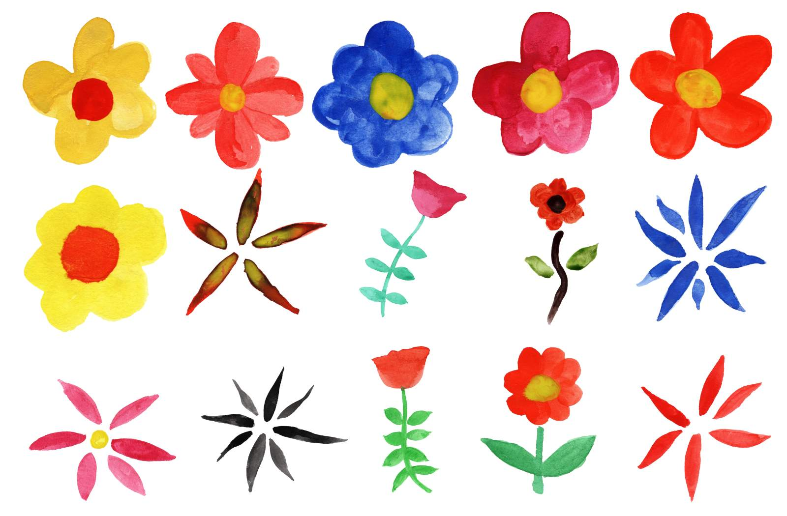 15 Watercolor Flowers PNG Transparent Vol 2