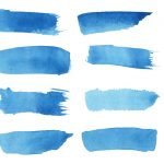 16 Blue Watercolor Brush Stroke Banner (PNG Transparent)