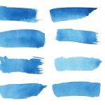 16 Blue Watercolor Brush Stroke Banner (PNG Transparent)