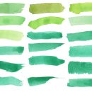 18 Green Watercolor Brush Stroke Banner (PNG Transparent)