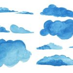7 Watercolor Clouds (PNG Transparent) Vol. 4