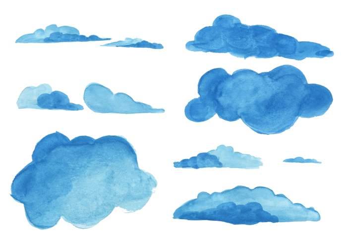 7 Watercolor Clouds PNG Transparent Vol 4