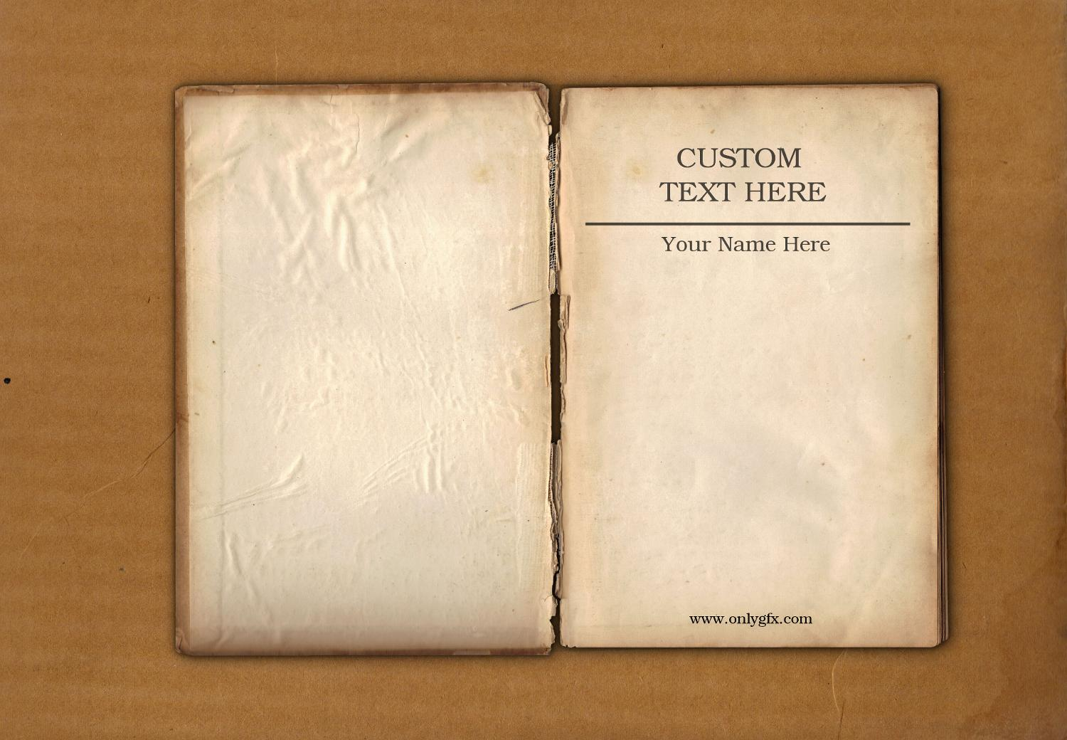 Old Book Cover Page : Vintage book open mockup psd onlygfx