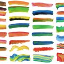 32 Colorful Watercolor Brush Stroke Banner (PNG Transparent)