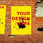 Brick Wall Street Poster Mockup (PSD)