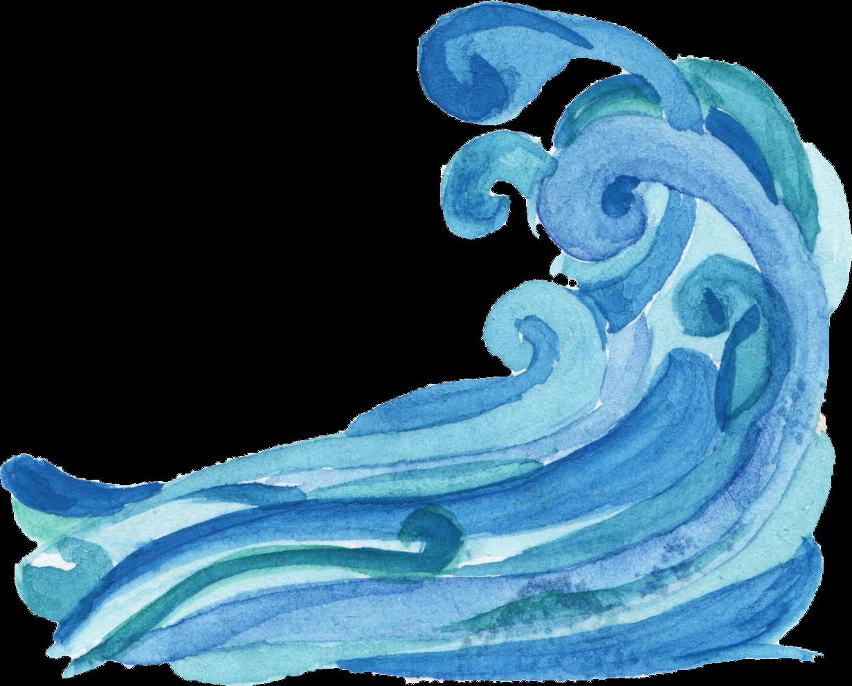 6 Watercolor Ocean Wave PNG Transparent