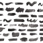 42 Black Watercolor Brush Stroke (PNG Transparent) Vol. 2