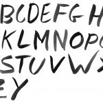 Black Watercolor Font Alphabet (PNG Transparent)