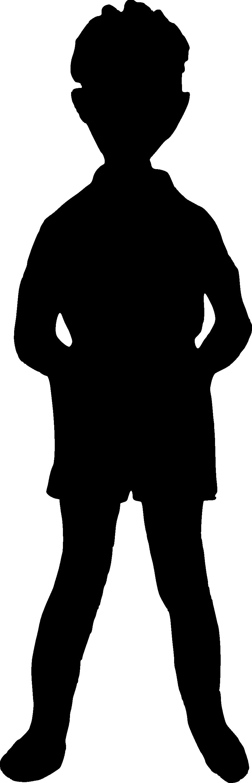 grey silhouette boy standing white silhouette boy