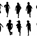 10 Kid Children Running Silhouette (PNG Transparent)