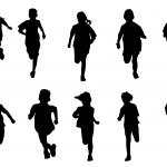 10 Kid Children Running Silhouette (PNG Transparent)