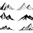 6 Mountain Drawing Vector (SVG, PNG Transparent)