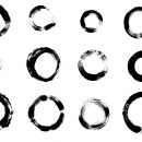 12 Grunge Circle Brush Stroke (PNG Transparent)