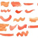 24 Orange Watercolor Brush Stroke (PNG Transparent)