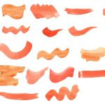 24 Orange Watercolor Brush Stroke (PNG Transparent)