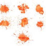 7 Orange Watercolor Splatter Texture (JPG)