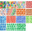 15 Watercolor Triangle Pattern (PNG Transparent)